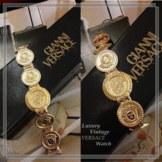 Gianni Versace Quartz Watch Gold Plated RM 4230 condition very good . with Card/Box Ref-KKLE-1  redeem it free with Maybank /CIMB credit card points