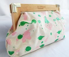 Metallic Green and Pink Abstract Wood Clutch by AssemblageUnique