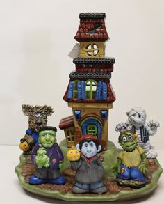 Haunted House with Trick Or Treaters by CeramicsPlusCanada on Etsy, $70.00 #halloween #hauntedhouse