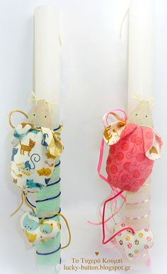 Patchwork mouse, Easter candle,  Πασχαλινή λαμπάδα 2018 διακοσμημένη με υφασμάτινο ποντικάκι «Patchwork mouse»