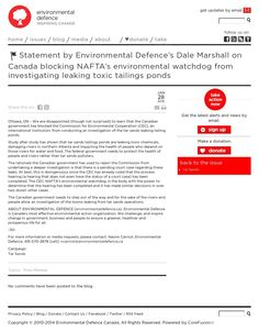 Statement by Environmental Defence's Dale Marshall on Canada blocking NAFTA's environmental watchdog from investigating leaking toxic tailings ponds