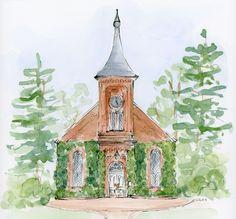 Custom Wedding Venue Illustration by ChezLaMariee on Etsy https://www.etsy.com/listing/169012423/custom-wedding-venue-illustration