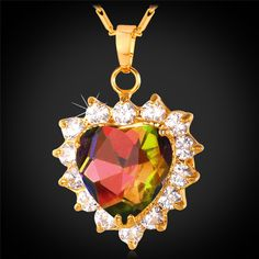 U7 Austrian Crystal Necklace Women Jewelry Valentines Gift 18K Gold Plated Romantic Love Heart Necklace Pendant Wholesale