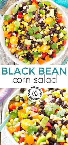 This Easy Black Bean and Corn Salad will become your new favorite!!  Full of delicious flavors.  #salad #blackbean #corn