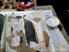 two videos on making collage art journal backgrounds