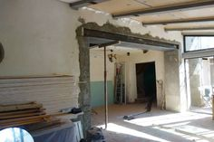 Steel Beams, Powder Room, Oversized Mirror, Sweet Home, Floor Plans, Construction, Flooring, Furniture, Design