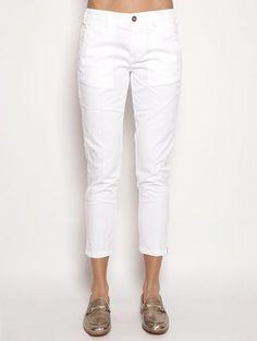 40WEFT DONNA MELITAS - Pantalone Chinos Bianco Pantaloni - TRYMEShop