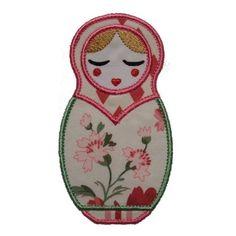"Natasha Babushka Doll Appliques Machine Embroidery Design Applique Pattern in 4 sizes 4"", 5"", 6"" and 7"""
