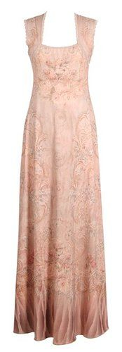 Vintage Style Light Pink Long Dress by Michal Negrin w Merrow Edge Finish Lace | eBay