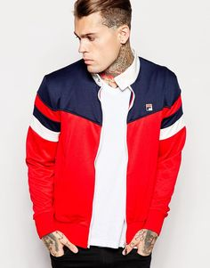 Image 1 of Fila Vintage Retro Track Jacket Fila Vintage, Mode Vintage, Retro Vintage, Football Casuals, Poses For Men, Winter Hoodies, Mens Activewear, Models, Mannequin