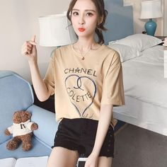 T-shirts Tops & Tees Short Sleeved T-shirt 2018 New Loose And Comfortable Joker Leisure Student Cheese Letters Back Print Tshirts Cotton Women Top Fast Color