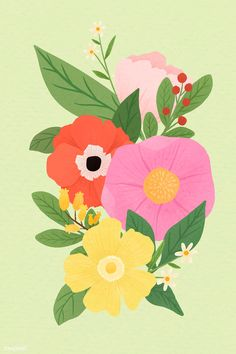 Flower Vector Art, Flower Art, Floral Embroidery Patterns, Flower Patterns, Backgrounds Girly, Watercolor Flower Background, Hand Drawn Flowers, Pattern Background, Free Illustrations
