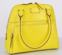 Kate Spade  Maeda Wellesley Sunshine Yellow Leather Purse Bag Tote | eBay