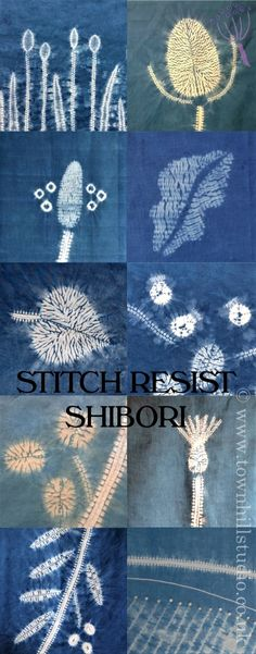 Various striking patterns created with different methods of shibori stitch resist with indigo dye all by Townhill Studio. Inspired by the natural world a great variety of designs are shown: teasels, grasses, plantain, leaves berries and landscape, so much is possible!