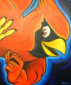 St. Louis Cardinals logo painting baseball sports by crockerart, $50.00