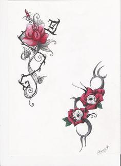Skull Rose Tattoo Flash by BryluffsBert.deviantart.com
