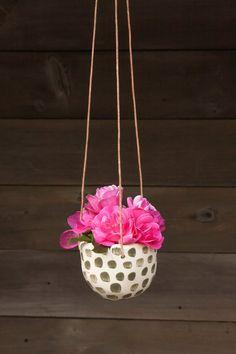 Hanging Planter, Retro, White and Green, Ceramic Succulent Planter, Indoor or Outdoor Planter