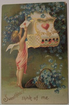 """""""Sweetheart think of me."""" Valentine from part of our General Postcard Collection. Victorian Valentines, Vintage Valentine Cards, Vintage Greeting Cards, Vintage Christmas Cards, Vintage Postcards, Vintage Images, Valentine Cupid, My Funny Valentine, Saint Valentine"""