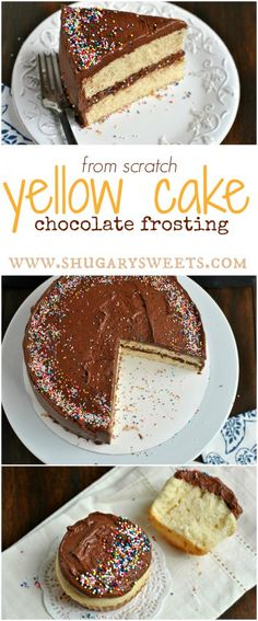 From scratch YELLOW CAKE with Double Fudge frosting. Also makes delicious, moist cupcakes!