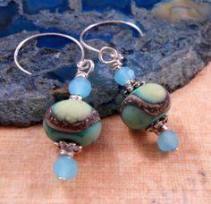 Lampwork Earrings Crystal Earrings Artisan Lampwork Jewelry Sterling Silver Beaded Jewelry