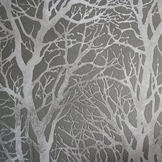 Metallic Grove' Tree Wallpaper in Grey & Silver Metallics (Full Roll)