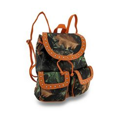 Forest Camouflage Cinch Style Backpack w/Chrome Stud Accent Trim