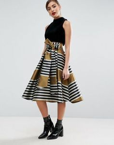 ASOS Prom Skirt in Stripe with Bow