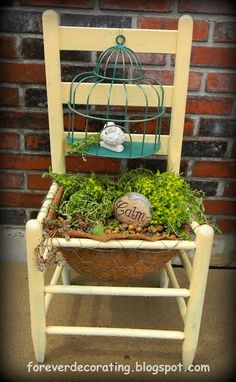 Chair planter with birdcage