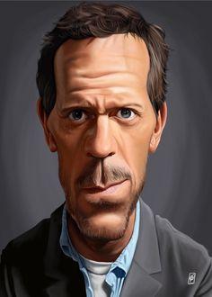 Celebrity Sunday - Hugh Laurie Displate Metal Print   art   decor   wall art   inspiration   caricature   home decor   idea   humor