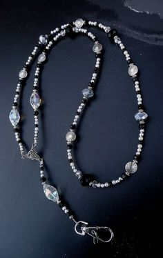 Genuine Black Silver and Vintage Clear AB Crystal Antique Silver Lanyard #handmade