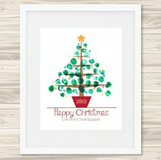 Personalised finger-painted Christmas tree print - hardtofind. $26.00 #hardtofind #hard #find # holiday #xmas #christmas #decoration