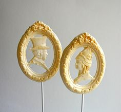 "Items similar to Hard Candy Lollipops, Wedding Cake Topper ""Mr. Darcy"" and ""Ms. Lizzy"" Earl Grey Latte flavored -Edible Favor, Decoration on Etsy Hard Candy, Wedding Cake Embellishments, Latte Flavors, Edible Wedding Favors, Earl Gray, Looks Chic, Macaron, Edible Art, Wedding Cake Toppers"