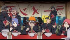 I love this pic, the akatsuki eating at ichiraku... and the way Sasori is staring at Deidara... So cute!  x3 <3
