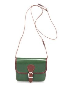 This Green Buckle-Accent Leather Crossbody is perfect! #zulilyfinds