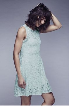 Free People Miles of Lace Dress in Sky Blue