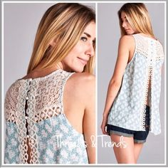 Sage Open Back Lace Blouse Exquisite design..sage and cream floral print open back sleeveless top. Featuring crochet lace and button detail. Pair with banduex's, Camis or lace extenders. Simply adorable. Chiffon Threads & Trends Tops