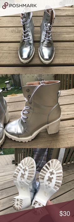 Silver High Heeled Boots Acceptable Condition, has some brown and pink scuffs on side of white heels and some silver scratches on sides of shoe ShoeDazzle Shoes