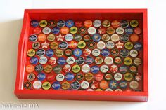 DIY Bottlecap Serving Tray created using bottle caps and a serving tray. Tapas, Bottle Cap Crafts, Beer Bottle, Bottle Caps, Clever Diy, Craft Gifts, Stuff To Do, Make Your Own, Diy And Crafts