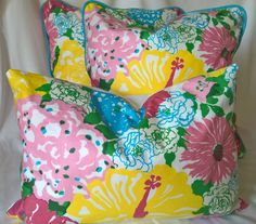 """Lilly Pulitzer Lee Jofa Heritage Floral Pinks Blues! Custom Pillow Cover, Throw Pillow, Decorative Pillow 13""""x19"""" by yorkshiredesigns on Etsy"""