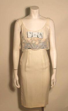 Vintage Oleg Cassini 1960s Style Ivory Cocktail Dress  2