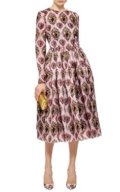 Sacred Heart Printed Silk Organza Midi Dress by Dolce & Gabbana - Moda Operandi