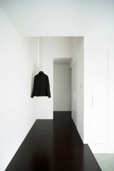 black floor / white walls...(or floors stained as dark as possible, with a touch of red mahogany in it)