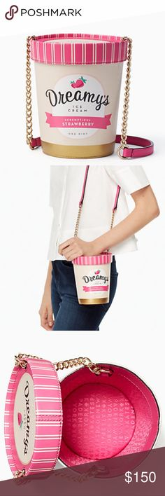 KS flavor of the month ice cream pint pop purse Brand new with tags in packaging Kate Spade super adorable ice cream pint purse from popular ice pop flavor of the month collection . Pet free smoke free posher. kate spade Bags Crossbody Bags