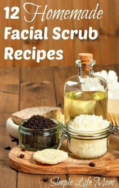 12 Homemade Facial Scrub Recipes with all natural ingredients from Simple Life Mom #HomemadeMoisturizer Homemade Scrub, Homemade Moisturizer, Homemade Facials, Diy Peeling, Luscious Hair, Home Remedies For Hair, Facial Scrubs, Facial Masks, Home