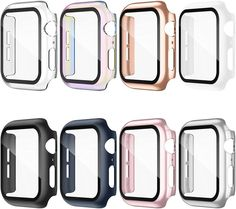 8 Pack Compatible for Apple Watch Case 38mm Series 3/2/1 with Tempered Glass Screen Protector, Hard PC All-Around Ultra-Thin Bumper Full Coverage Protective Case Cover for iWatch Women Men All Apple Products, Tempered Glass Screen Protector, Print Ads, Apple Watch Bands, Protective Cases, Iphone Cases, Rose Gold, Watches, Purple