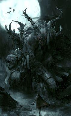Monster artwork has echoes of bloodbourne Fantasy Concept Art, Dark Fantasy Art, Fantasy World, Dark Art, Fantasy Monster, Monster Art, Elves Fantasy, Fantasy Creatures, Mythical Creatures