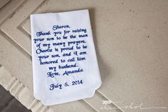 My wedding day gift for my mother-in-law. Wedding day handkerchief gift from Bride to her Mother-in-law.