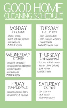 "Good Home Cleaning Schedule. ""Keep your stress levels to a minimum by spreading out your workload over the week. But, don't forget to give yourself a day of rest!"" A nice simplified version of cleaning schedule Household Cleaning Schedule, House Cleaning Tips, Diy Cleaning Products, Cleaning Solutions, Cleaning Hacks, Cleaning Lists, Cleaning Calendar, Cleaning Routines, House Cleaning Schedules"