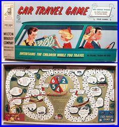 Vintage 1958 CAR TRAVEL GAME, Milton Bradley, entertain the kids while you travel