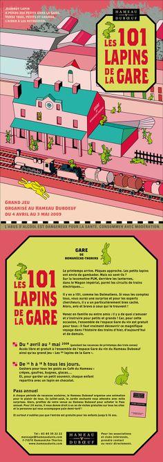 Hameau Dubœuf, Affiche Les lapins de la gare, illustration R.Michon, Pâques 2009©markcom